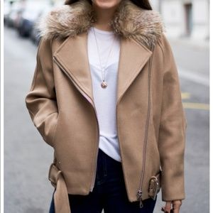 Caramel Biker Jacket w Faux Fur Collar
